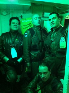 Pilots doing what they do best: lookin' good in the shuttle bay (Darby K.)