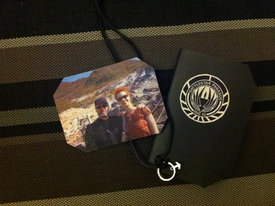 Last minute props: photo of lost family members, an Ares medallion and a notebook from Pegasus, where my character served before joining the Galactica